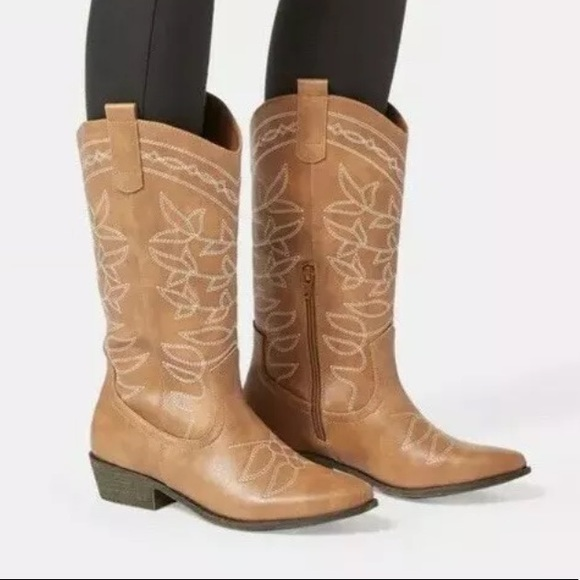 Jessie Embroidered Cowboy Boot Taupe Size 8.5 NWT
